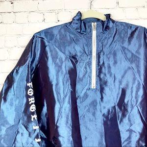 Iridescent Windbreaker Pullover Half Zip Jacket